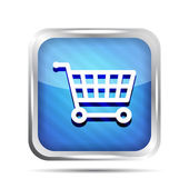 Blue striped shopping cart icon on a white background — Stock Vector