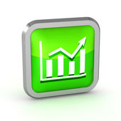 Green graph icon on a white background — Stock Photo