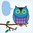 Motley owl with message bubble sitting on a tree branch — Stock Vector