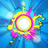 Quadro abstrato grunge colorido com raios em backgro listrado azul — Vetorial Stock