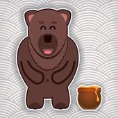 счастливый милый медведь с горшок меда на фоне волнообразные — Cтоковый вектор