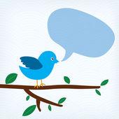 Niebieski ptak z wiadomość bąbelek siedzący na gałęzi drzewa — Wektor stockowy