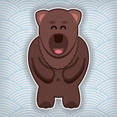 Happy cute bear on a waved background — Stock Vector