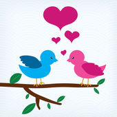 Pair of birds in love sitting on a tree branch — Stock Vector