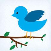 Illustration of blue bird sitting on a tree branch — Stock Vector