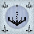 Silhouette of luxury chandelier on a scratched blue wallpaper — Stock Vector