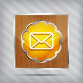 ícone de correio laranja em uma placa de madeira sobre um fundo listrado — Vetorial Stock