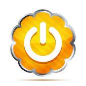 Orange power button icon on a white background — Stock Vector