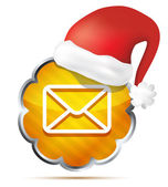 Orange mail icon with Red Santa Claus Hat isolated on a white b — Stock Vector