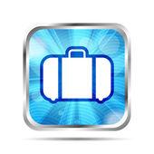 ícone azul brilhante, com raios e bagagem em um fundo branco — Vetorial Stock