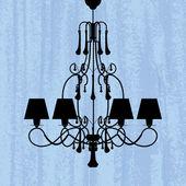 Silhouette of luxury chandelier — Stock Vector