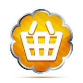 Yellow striped shopping basket icon — Stock Vector