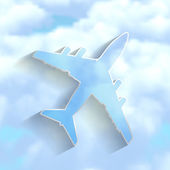 Airplane on a blue cloudy sky background — Stock Vector