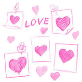 Set of Valentines Day notes with scribbled hearts — Stock Vector