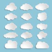 White clouds collection on a blue background — Stock Vector