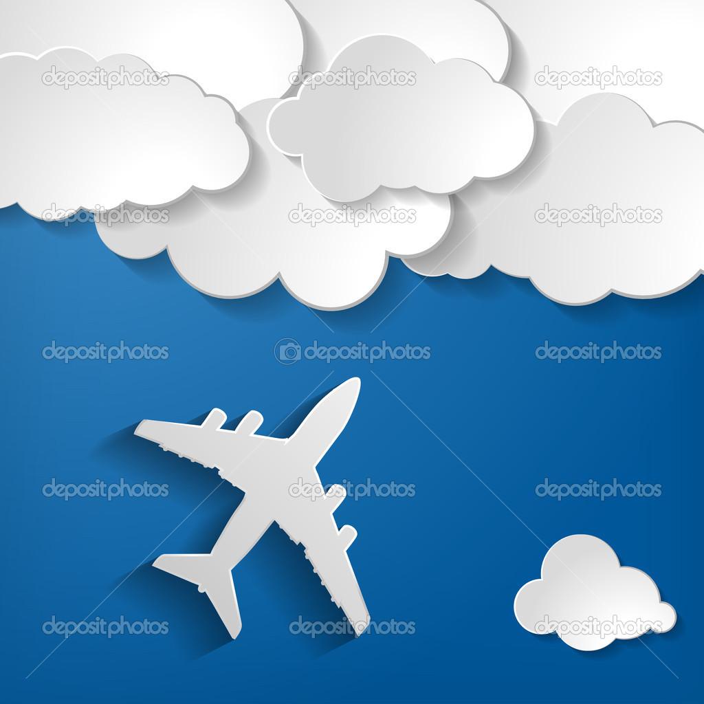 与纸云在蓝色的天空背景上的纸飞机