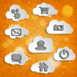 Abstract clouds collection with social networks icons — Stock Photo #48718921