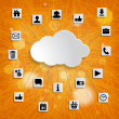 Abstract cloud computing with social networks icons — Stock Photo #48718993