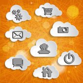 Abstract clouds collection with social networks icons — Foto Stock