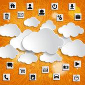Abstrait cloud computing avec icônes médiatiques — Photo