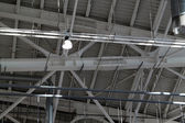 Ceiling in a warehouse, ventilation and illumination — Stock Photo