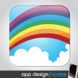 Rainbow in the sky - eco and weather app icon for mobile devices — Stock Vector #27707269