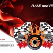 Racing poster with flames of fire and racing flag — Stock Vector