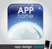 Night moon and space app icon for mobile devices — Stock Vector