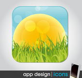 Field with sun and grass - eco app icon for mobile devices — Stock Vector