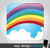 Rainbow in the sky - eco and weather app icon for mobile devices — Stock Vector