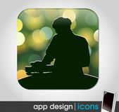 Dj party - app icon for mobile devices — Stock Vector