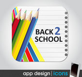 Back to school - app icon for mobile devices — Stock Vector