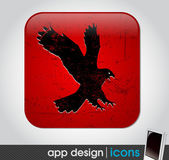 Vintage eagle app icon for mobile devices — Stock Vector