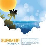 Summer holiday web and print template - tropical island — Stock Vector