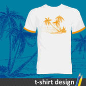 Stylish t-shirt design with hand-drawn summer island — Stock Vector
