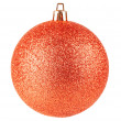 Red christmas ball on white background — Stock Photo #13729678