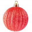 Stock Photo: Red christmas ball on white background