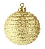 Golden christmas ball on white background — Stock Photo