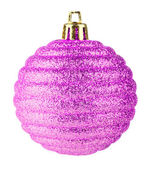 Pink christmas ball on white background — Stock Photo