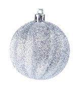 Silver christmas ball on white background — Stock Photo