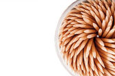 Toothpicks isolated on the white background.Soft focus — Stock Photo