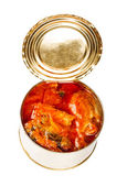 Ajar metallic can with food isolated on white background — Stock Photo