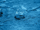 Splash of water on blue surface — Stock Photo