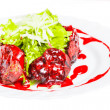 Glazed fillet with sauce and salad — Stock Photo