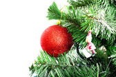 Christmas tree with red ball — Foto de Stock