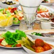 Fresh salads and fish — Stockfoto