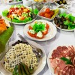 Fresh salads and sausage — 图库照片 #17655235