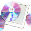 Stock Photo: Reader and cd disks