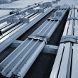 Stock Photo: New welded metal beams