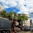 Capitol and the steam locomotive — Stock Photo